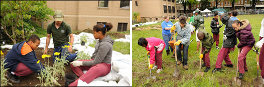 Students plant flowers outside school with RiverSmart gardener supervision