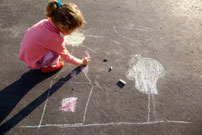 Coal Tar - kid Drawing on pavement