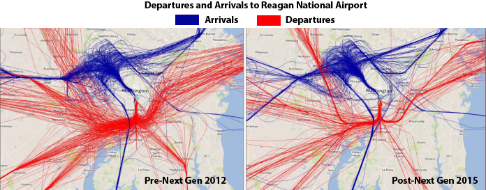 Departures & Arrivals DCA Airport - Pre and Post NextGen