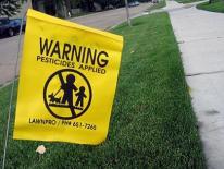 Pesticides warning sign